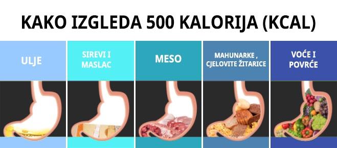 kako izgleda 500 kalorija
