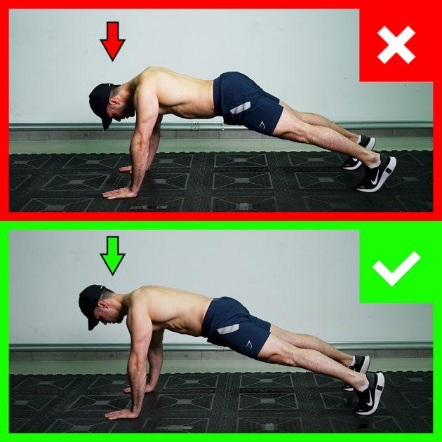 sklekovi - pravilna pozicija glave